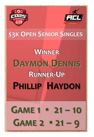 Open Senior Singles